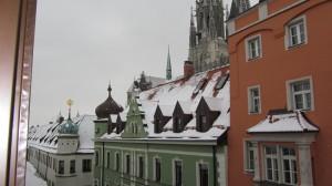 Ausblick aus dem Fenster des Schlafzimmers - mit Sicht auf den Dom
